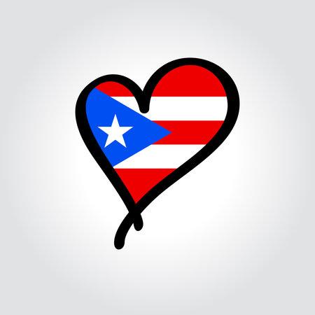 Puerto Rican flag heart-shaped hand drawn . Vector illustration.
