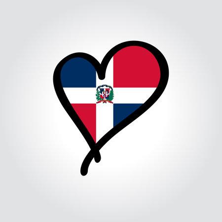 Dominican Republic flag heart-shaped hand drawn . Vector illustration. Vettoriali