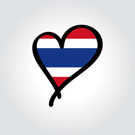 Thai flag heart-shaped hand drawn . Vector illustration.