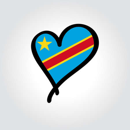 Congolese flag heart-shaped hand drawn . Vector illustration.