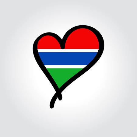 Gambian flag heart-shaped hand drawn . Vector illustration.