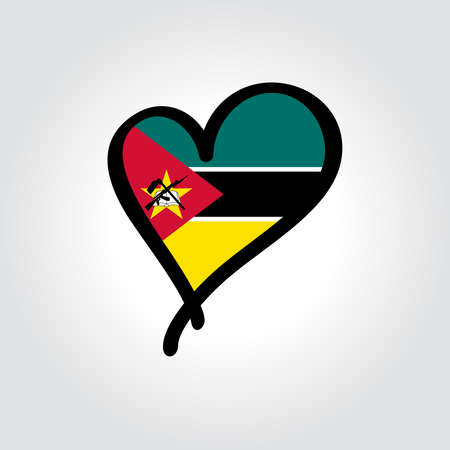 Mozambique flag heart-shaped hand drawn . Vector illustration.