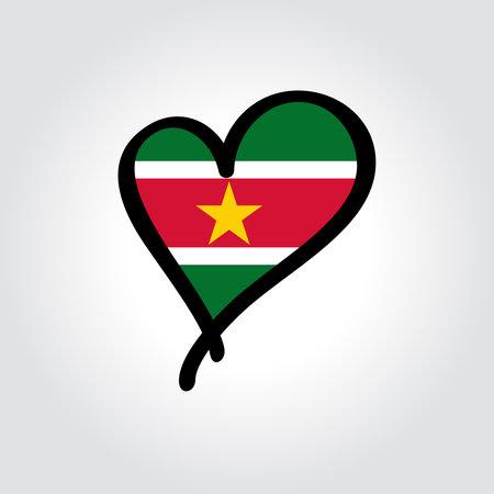 Surinamese flag heart-shaped hand drawn . Vector illustration.