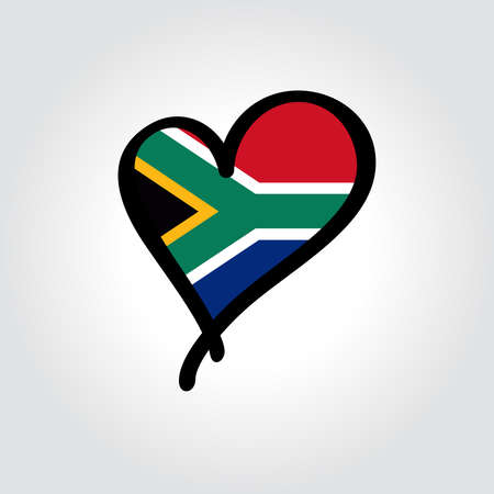 South African flag heart-shaped hand drawn . Vector illustration.
