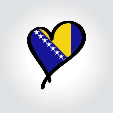 Bosnia Herzegovinan flag heart-shaped hand drawn . Vector illustration.