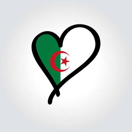 Algerian flag heart-shaped hand drawn . Vector illustration. Vettoriali