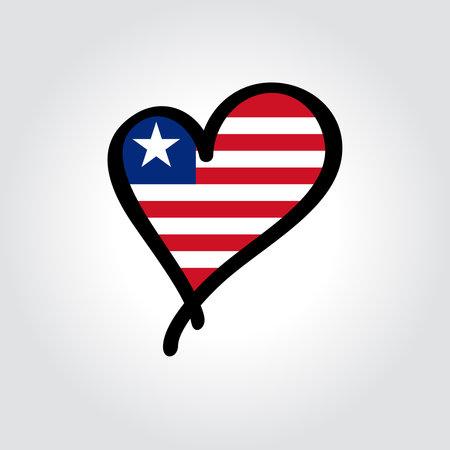 Liberian flag heart-shaped hand drawn . Vector illustration.