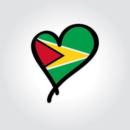 Guyanan flag heart-shaped hand drawn . Vector illustration. Illusztráció