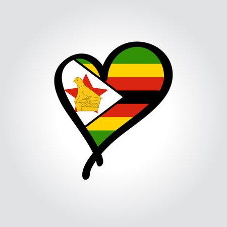 Zimbabwean flag heart-shaped hand drawn . Vector illustration.
