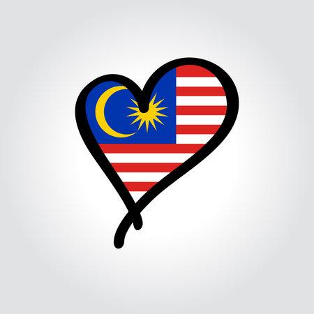 Malaysian flag heart-shaped hand drawn . Vector illustration. Vettoriali