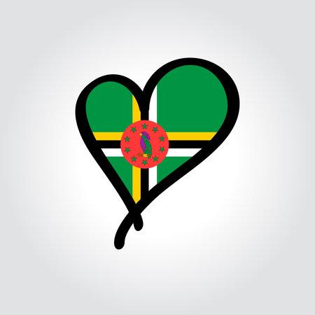 Dominican flag heart-shaped hand drawn . Vector illustration. Vettoriali