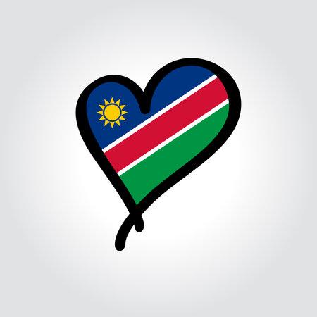 Namibian flag heart-shaped hand drawn . Vector illustration. Vettoriali