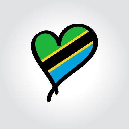 Tanzanian flag heart-shaped hand drawn . Vector illustration.  イラスト・ベクター素材