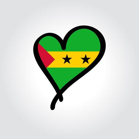 Sao Tome and Principe flag heart-shaped hand drawn . Vector illustration.