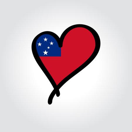 Samoan flag heart-shaped hand drawn . Vector illustration.