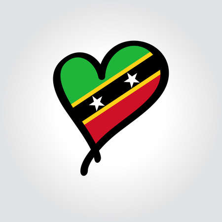 Saint Kitts and Nevis flag heart-shaped hand drawn . Vector illustration.