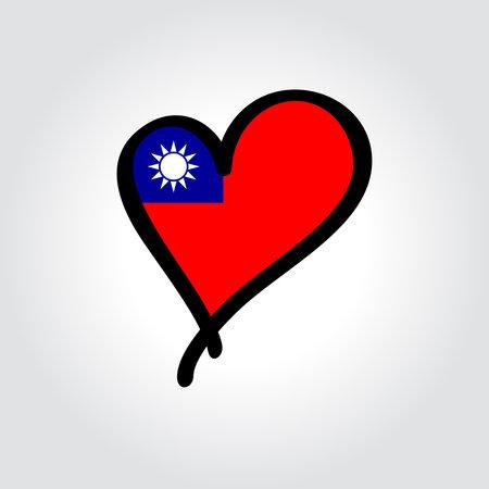 Taiwan flag heart-shaped hand drawn . Vector illustration.  イラスト・ベクター素材