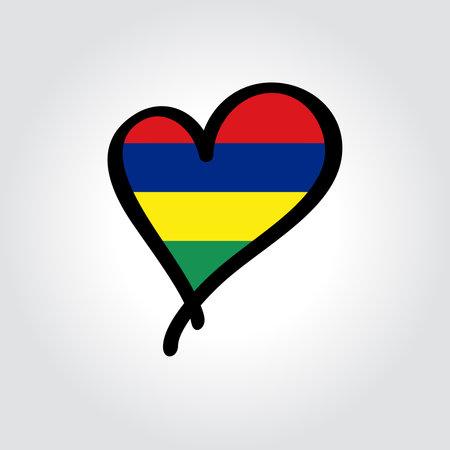 Mauritius flag heart-shaped hand drawn . Vector illustration. Illusztráció