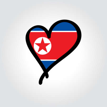 North Korean flag heart-shaped hand drawn . Vector illustration.  イラスト・ベクター素材