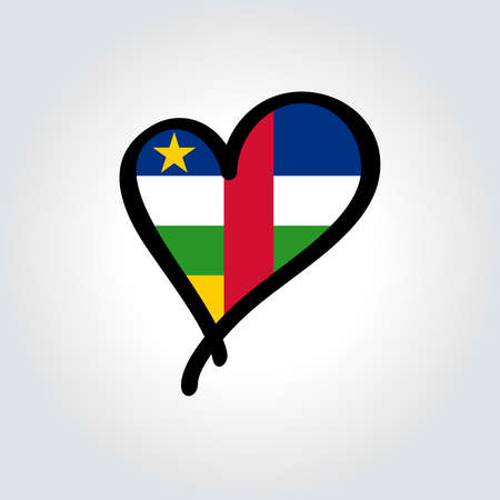 Central African Republic flag heart-shaped hand drawn template. Vector illustration.  イラスト・ベクター素材