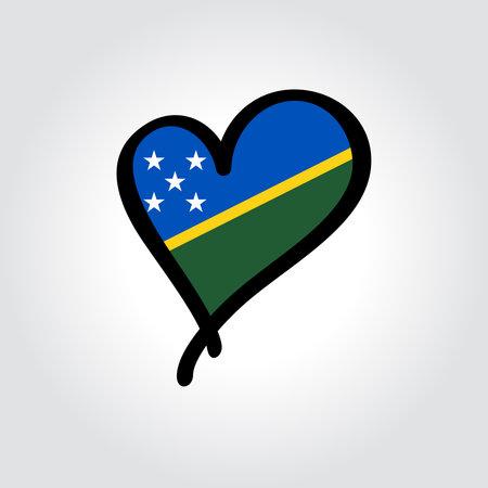 Solomon Islands flag heart-shaped hand drawn . Vector illustration.