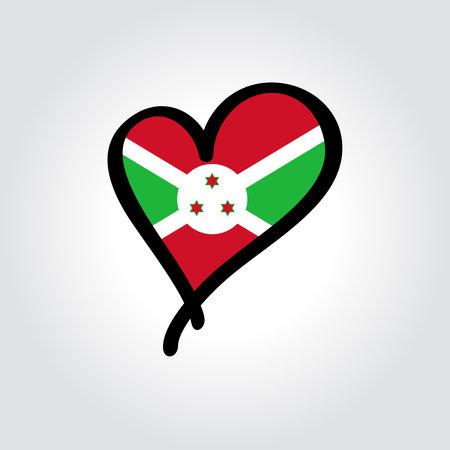 Burundian flag heart-shaped hand drawn . Vector illustration.  イラスト・ベクター素材