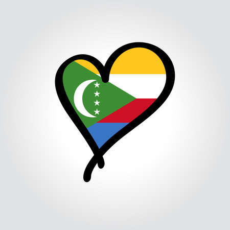 Comoros flag heart-shaped hand drawn . Vector illustration.  イラスト・ベクター素材