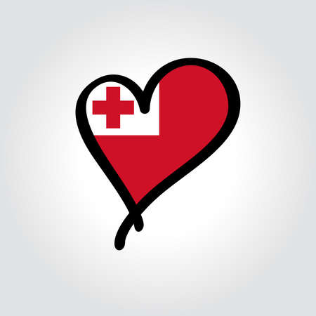 Tonga flag heart-shaped hand drawn . Vector illustration.