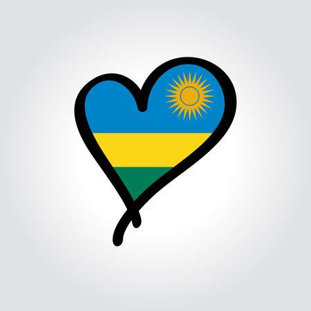 Rwandan flag heart-shaped hand drawn . Vector illustration.