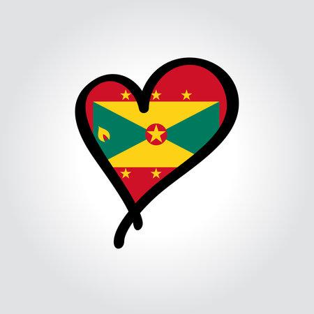 Grenada flag heart-shaped hand drawn . Vector illustration.