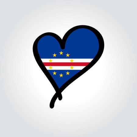 Cape Verde flag heart-shaped hand drawn . Vector illustration.