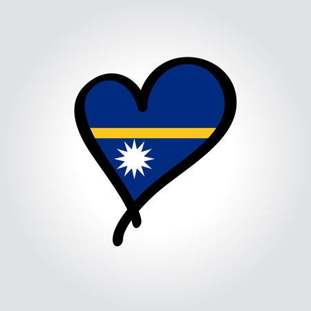 Nauru flag heart-shaped hand drawn . Vector illustration.  イラスト・ベクター素材