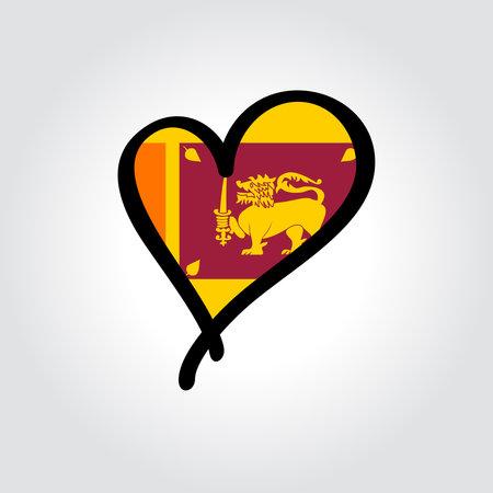 Sri Lanka flag heart-shaped hand drawn . Vector illustration.  イラスト・ベクター素材