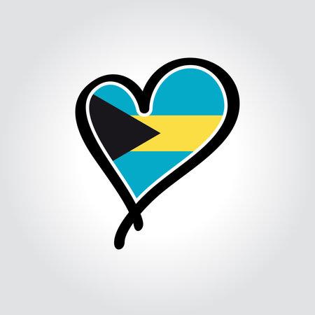 Bahamian flag heart-shaped hand drawn . Vector illustration. Illusztráció