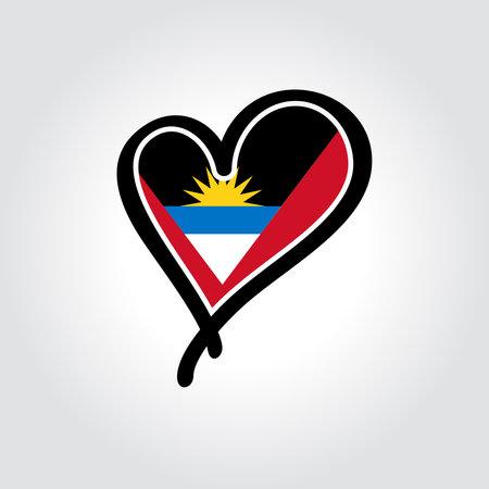 Antigua and Barbuda flag heart-shaped hand drawn . Vector illustration.  イラスト・ベクター素材