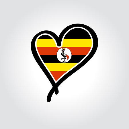 Ugandan flag heart-shaped hand drawn . Vector illustration.  イラスト・ベクター素材