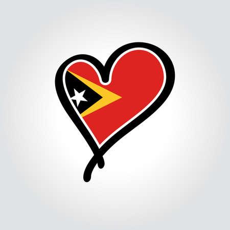 Timor-Leste flag heart-shaped hand drawn logo. Vector illustration.