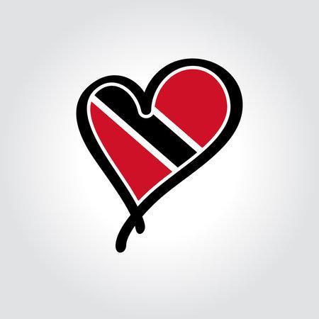 Trinidad and Tobago flag heart-shaped hand drawn . Vector illustration.  イラスト・ベクター素材
