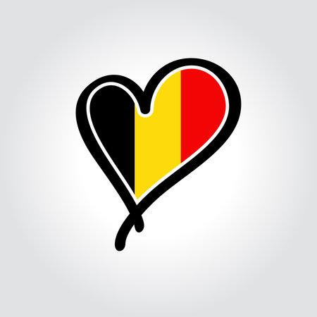 Belgian flag heart-shaped hand drawn . Vector illustration.