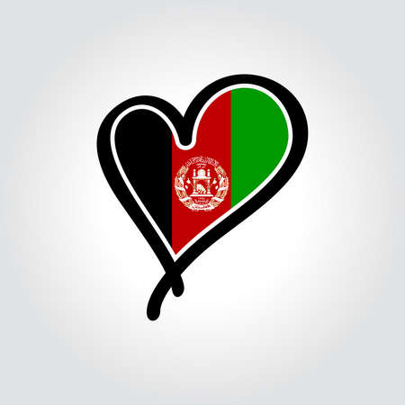 Afghani flag heart-shaped hand drawn . Vector illustration.