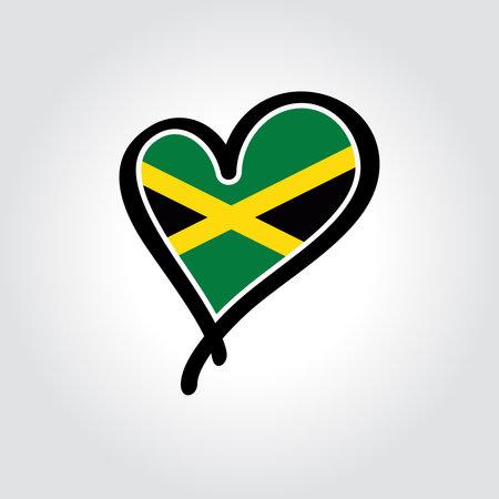 Jamaican flag heart-shaped hand drawn . Vector illustration.  イラスト・ベクター素材