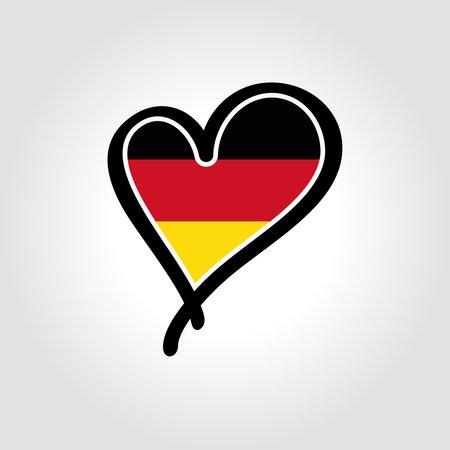 German flag heart-shaped hand drawn . Vector illustration.