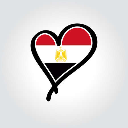 Egyptian flag heart-shaped hand drawn . Vector illustration.  イラスト・ベクター素材