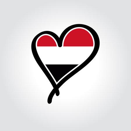 Yemeni flag heart-shaped hand drawn . Vector illustration.