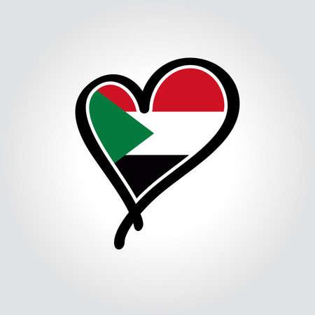 Sudanese flag heart-shaped hand drawn logo. Vector illustration.