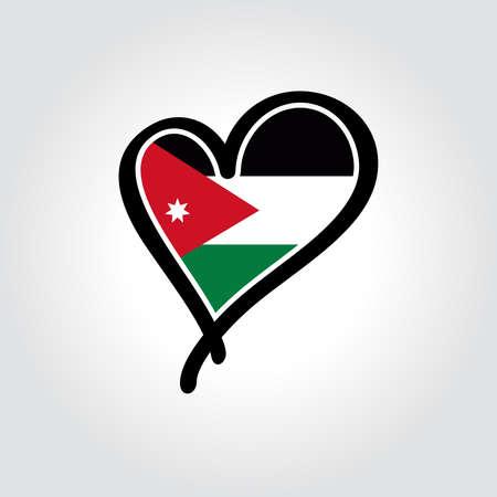Jordanian flag heart-shaped hand drawn logo. Vector illustration. Vettoriali
