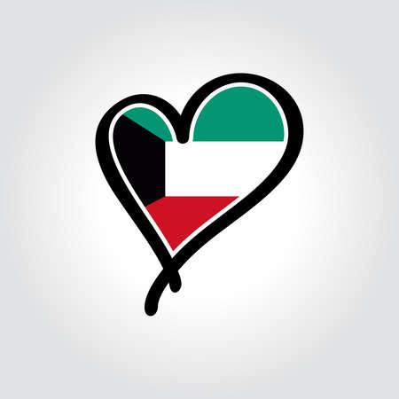 Kuwaiti flag heart-shaped hand drawn logo. Vector illustration. Vettoriali