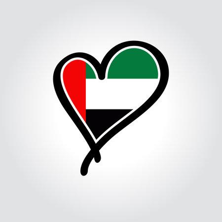 United Arab Emirates flag heart-shaped hand drawn . Vector illustration.