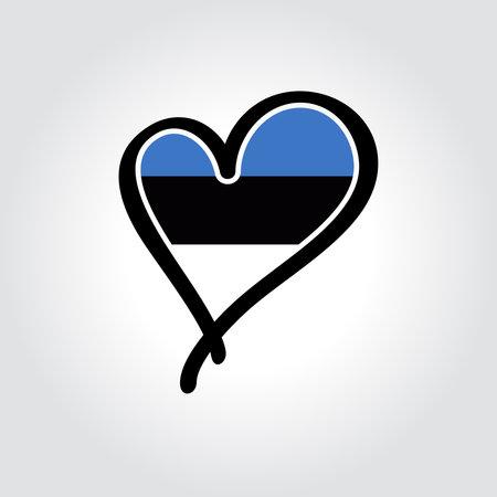 Estonian flag heart-shaped hand drawn . Vector illustration.