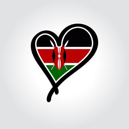 Kenyan flag heart-shaped hand drawn . Vector illustration.  イラスト・ベクター素材